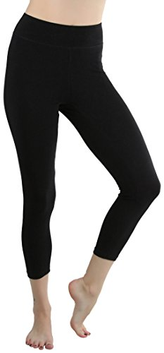 ToBeInStyle Women's Cotton-Spandex Capri Leggings - Black - Large