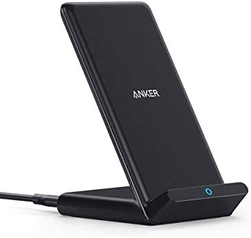 Anker Wireless Charger, PowerWave Stand, Qi-Certified for iPhone SE, 11, 11 Pro, 11 Pro Max, XR, Xs Max, XS, X, 8, 8 Plus, 10W Fast-Charging Galaxy S20 S10 S9 S8, Note 10 Note 9 (No AC Adapter)