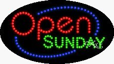 Open Sunday LED Sign - 15 x 27 x 1 inches - Made in (Open Sunday Neon Sign)