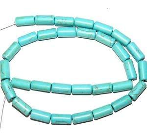 NG1915 Blue-Green Turquoise 13mm Round Tube Magnesite Gemstone Beads 15