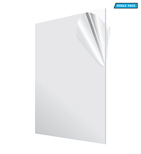 AdirOffice Acrylic Plexiglass Sheet  Transparent Plastic Sheeting - Durable, Water Resistant & Weatherproof - Multipurpose & Ideal For Countless Uses 24x48 1/8'' thick, Clear