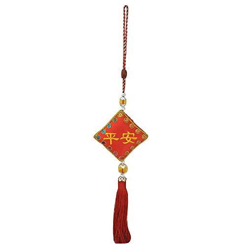 (Divya Mantra Decorative Square Potali/Money Bag Feng Shui Talisman Gift Pendant Amulet for Car Rear View Mirror Decor Ornament Accessories/Good Luck Charm Protection Interior Wall Hanging Showpiece)