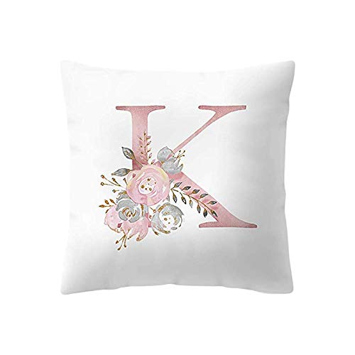 GONGting Kids Room Decoration Letter Pillow English Alphabet Children Series Pillowcases Throw Pillow Case Cushion Cover Pillowcase for Sofa 18 X 18 Inch 45 X 45 cm (K)
