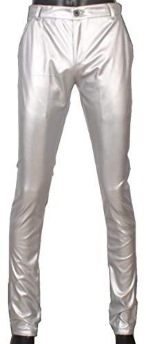 A Vita Da Pelle Skinny Sintetica Tubo Bassa Jeans Slim Uomo Pantaloni Silber Ts003de In TZwxB1