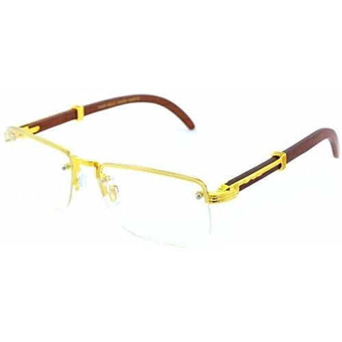 Jgny - Woodbridge Wood Frame Glasses Clear Rimless Lens Migos - Styling Glasses