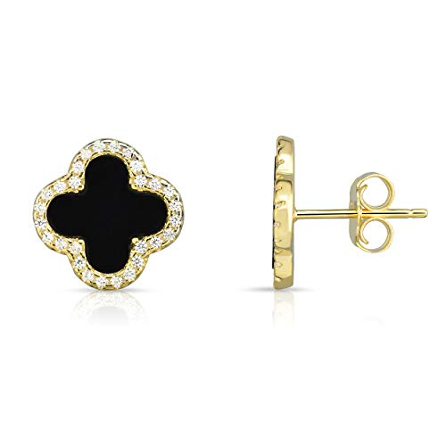 4 Leaf Clover Post Earrings - Sterling Silver Black Onyx And Cubic Zirconia Four Leaf Clover Post Earrings. (14K Yellow Gold Plated)