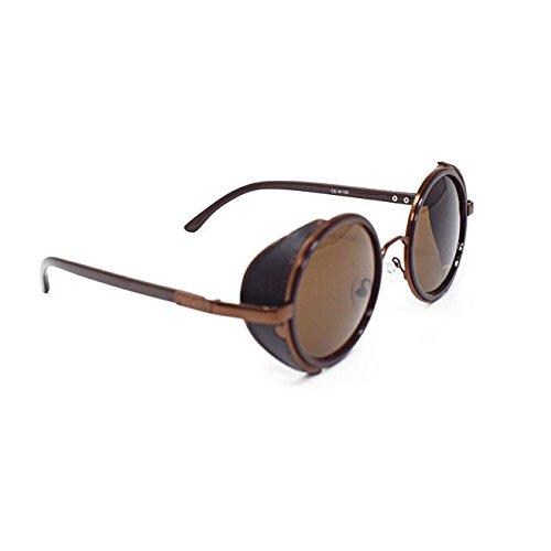 en estampado 50s oro marrón cobre Cyber ultra Goth sol de UV400 Steampunk protección azul y leopardo espejo té de Con Marrón Lentes Gafas gafas Las Vintage Rave redondo con Marrones plata gafas PawIvy4q