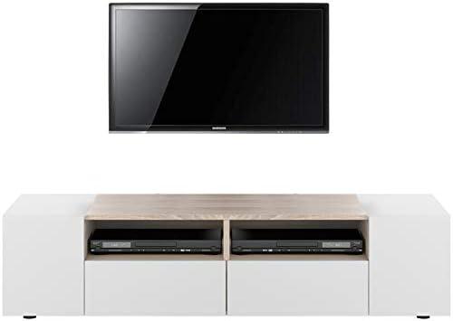 HABITMOBEL Mueble de TV, Mesa Comedor Blanco y Roble Canadian, Medida: 138 cm (Ancho) x 36 cm (Alto) x 42 cm (Fondo): Amazon.es: Hogar