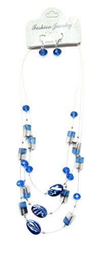 Necklace Earrings Set / Blue & Silver Glass Beads / 3 strands layered necklace length around (Blue Topaz Bead Necklace)