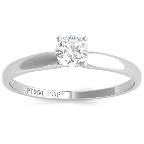 Diamond Studs Forever Platinum Solitaire Engagement Ring (IGI USA Certified, EF/SI1-SI2)