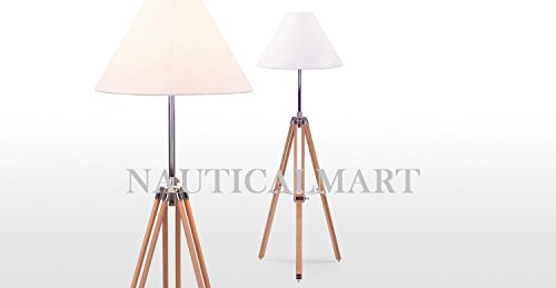 - Navy Tripod Floor Lamp in Natural Wood Set of 2