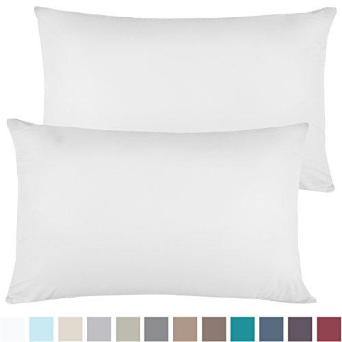 Empyrean Bedding Set of 2 Premium Standart-Size Pillowcases Microfiber Linen, Hypoallergenic & Breathable Design, Soft & Comfortable Hotel Luxury - White