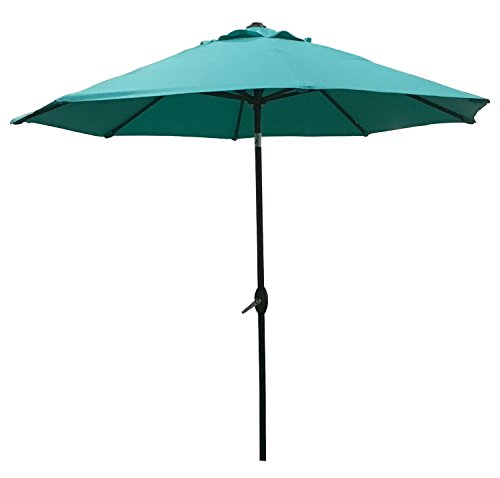 ABO Gear 9 Ft Outdoor Table Aluminum Patio Umbrella with Auto Tilt and Crank, 8 Ribs, Polyester, Turquoise ()