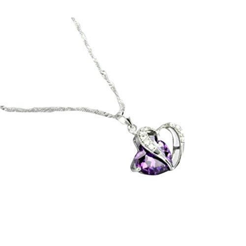 Women Heart Crystal Rhinestone Silver Chain Pendant Necklace Jewelry by (Sapphire Cats)