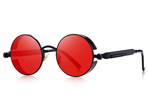 (MERRY'S Gothic Steampunk Sunglasses for Women Men Round Lens Metal Frame S567(Black&Red,)