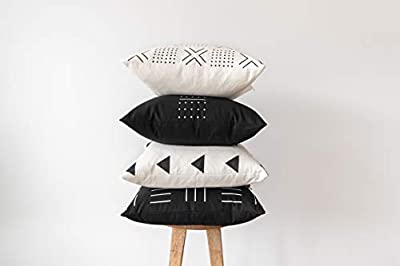 Woven Nook Decorative Throw Pillow Covers ONLY for Couch, Sofa, or Bed Set of 4 18 x 18 inch Modern Quality Design 100% Cotton Black White Monochrome Mudcloth Zola