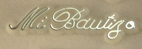 48 Plastic Cake Topper Mi Bautizo Sign White w/ Silver Baptism Favor Decorations