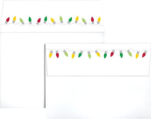 A7 Colorflaps Envelopes (5 1/4 x 7 1/4) w/Peel & Press - Christmas Lights (1000 Qty.) | Perfect for the HOLIDAYS, 5x7 Photos, Invitations, Social Mailings, Greeting Cards and More! |CF4880-96-1M by Envelopes.com