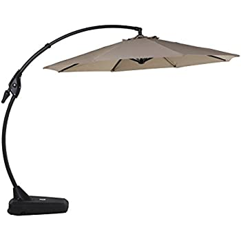 Grand Patio Deluxe 10 FT Curvy Aluminum Offset Umbrella With Handle And  Crank, Banana Style Cantilever Umbrella, 8 Ribs Large Patio Umbrella With  Base, ...
