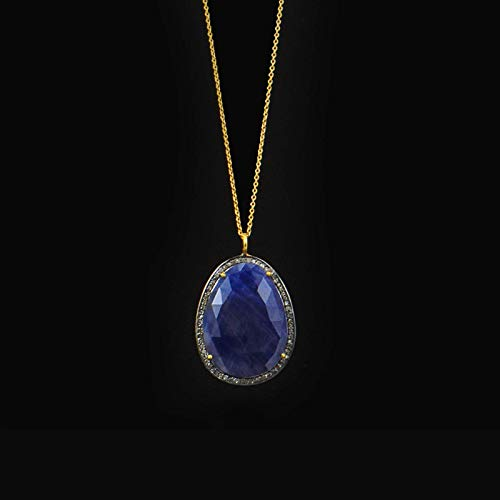 Sivalya Raw Sapphire and Diamonds Accent Necklace 18K Yellow Gold Plated Sterling Silver - Luxury Gift for Women - Gift Packaging Included
