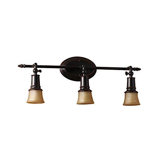 3 Windsor Vanity Light (Windsor Home Deco WH-63006 Vanity Light, American Retro Rustic Metal Wall Lamp Over Mirror with Glass Lamp Shades, E12 Wall Sconce Lighting, Black/Yellow)