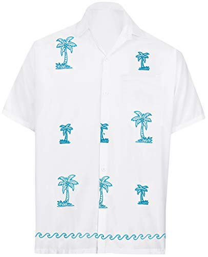 LA LEELA Men's Relaxed Hawaii Aloha Dress Shirt for Casual Wear 4XL White_W821