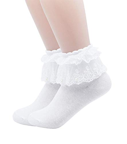 YJLSO Women Lace Ruffle Frilly Cotton Socks Princess Socks Ankle Socks,2 pairs (B--White),One Size