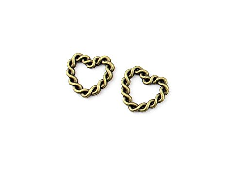 (Price per 220 Pieces Jewelry Making Charms XOTU0 Love Heart Twisted Circle Pendant Ancient Bronze Findings Craft Supplies Bulk Lots)