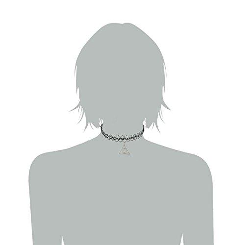 Jane Stone Collier Tatouage Ras du Cou Elastique Reglable Style Harajuku Pendentif Reliques de la Mort Couleur Noir