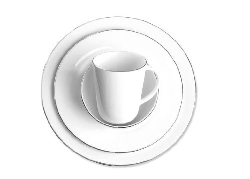 Charter Club Dinnerware, 4 Piece PLace Setting, Grand Buffet Platinum Fine Line Round Collection ()