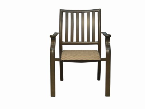 Panama Jack Island Breeze Stackable Sling Arm Chair, Espresso Finish - Relaxed, tropical-style piece finished in a powder coated espresso finish Extruded Aluminum Frame with Twitchell fiber Weather and UV resistant - patio-furniture, patio-chairs, patio - 31ndi%2BPmwyL -