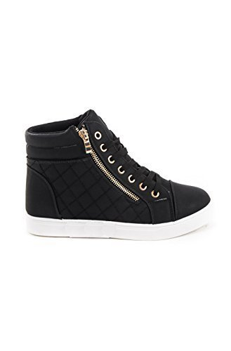 Leatherette Zipper Shoes Lace Sneakers Top black Women's Up High Soho Quilted AqIX6ExwdI