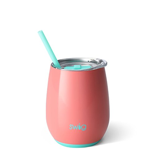 Swig Life Stainless Steel Signature 14oz Stemless Wine Cup with Spill Resistant Slider Lid and Reusable Straw in Melon ()