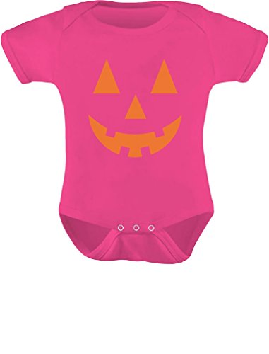 Tstars - Orange Pumpkin Face Jack O' Lantern Halloween Costume Baby Bodysuit NB (0-3M) Wow -