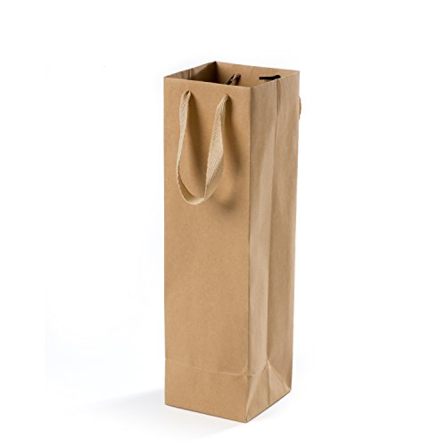 Sunbright Brown Kraft Paper Wine Bags with Burlap Handle for Party, Gifts, Shopping, Retails,Pack of 10 ()