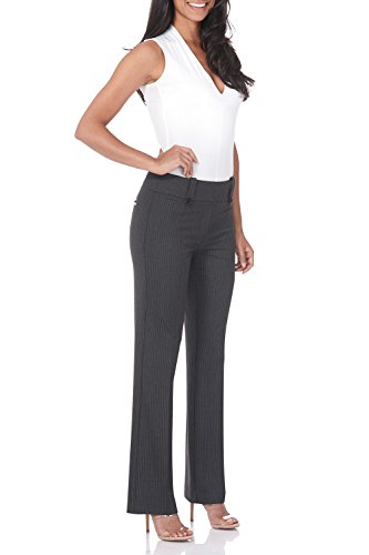 (Rekucci Women's Smart Desk to Dinner Stretch Bootcut Pant w/Tummy Control (18,Dark Charcoal Pinstripe))