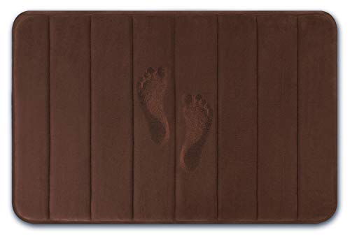 Yimobra Memory Foam Bath Mat Large Size 31.5 by 19.8 Inches, Comfortable, Soft, Maximum Absorbent, Machine Wash, Non-Slip, Thick, Easier to Dry for Bathroom Floor Rug, Brown (Baby Blue And Chocolate Brown Baby Shower)