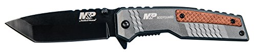 Smith & Wesson M&P Bodyguard 8.07in S.S Folding Knife with 3.5in Serrated Tanto Point Blade and Aluminum Handle for Outdoor, Tactical, Survival and -