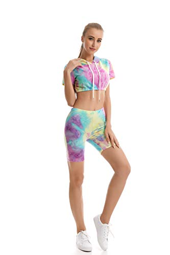 (YEEKA Womens Bodycon 2 Pieces Outfit Colorful Tie Dye Crop Top Shorts Pants Tracksuit)