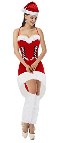 [Kimring Women's Christmas Snowflake Costume Miss Santa Hi Low Halter Dress with Legwarmer Red] (Cheap Mrs Claus Outfit)