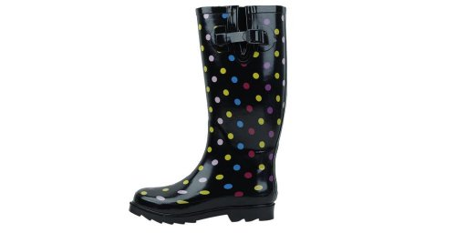 Sunville New Brand Women's Rubber Rain Boots,6 B(M) US,Multi-Color Polka Dots ()