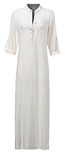 US&R, Women's Simple Loose Solid Color Deep V Plunge Maxi Linen Shirt Dress, White 8 (Period Dress)