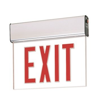 Nora Lighting NX-506-LEDR1CA Red LED Single Face Edge-Lit Exit, AC Only, Clear, Aluminum
