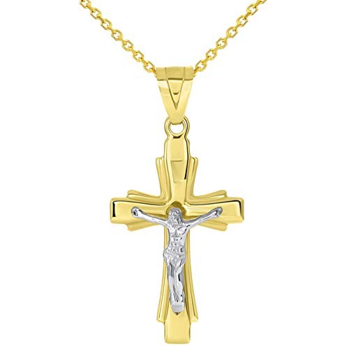14k Solid Two-Tone Gold Catholic Crucifix Pendant Necklace, - Tone Two Solid Crucifix
