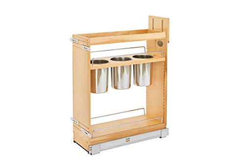 Rev-A-Shelf - 448UT-BCSC-8C - 8 in. Pull-Out Wood Base Cabinet Utensil Organizer with 3 Bins and Soft-Close Slides