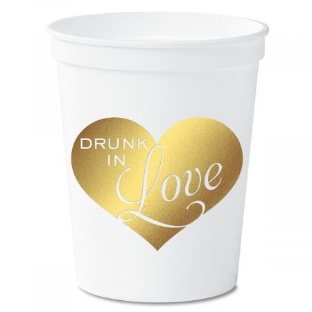 Drunk in Love White Stadium Cups - Set of 10, 16 oz. plastic cups, Dishwasher Safe, Reusable,Drunk in Love Party Cup, Bachelor, Bachelorette & Wedding Party Supplies by Lillian Vernon (Image #1)