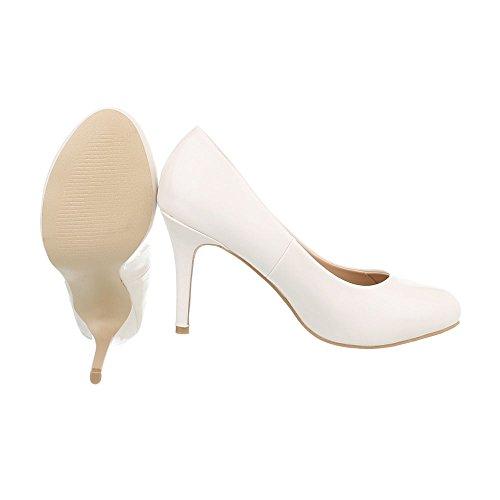 Ital-Design Women's Court Shoes Stiletto High Heels Cream ZzKLn7