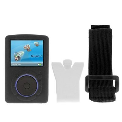 Durable Flexible Soft Black Silicone Skin Case with Belt Clip and Armband for Sandisk Sansa Fuze (Sansa Accessory)