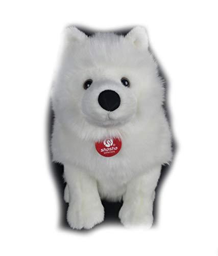 (Stuffed Dog Plush dog28cm Lifelike Samoyed Stuffed Toys Cute Simulation White Dog Plush Toy Puppy Plush Animals Toy)