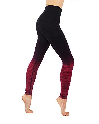 CodeFit Yoga Power Flex Dry-Fit Pants Workout Printed Leggings Ombre Print (S/M USA 4-6, 6l13-blk/Bur)